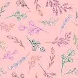 Pattern with pastel silhouettes of branches royalty free illustration