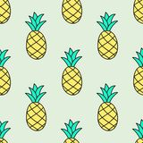 Seamless hand-drawn pattern with pineapple. Vector. Illustration. Doodle style Stock Image