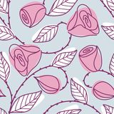 Seamless hand drawn pattern with pink roses Royalty Free Stock Images
