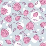 Seamless hand drawn pattern with pink roses Stock Images