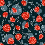 Seamless hand drawn pattern with red roses Royalty Free Stock Photography