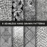 Seamless hand drawn pattern. Set of eight seamless hand drawn patterns. Graphic textures. Hand made background. Made in vector Royalty Free Stock Photography