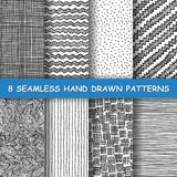 Seamless hand drawn pattern. Set of eight seamless hand drawn patterns. Graphic textures. Hand made background. Made in vector Royalty Free Illustration