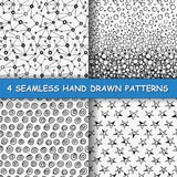 Seamless hand drawn pattern. Set of four seamless hand drawn patterns. Graphic textures in black and white. Hand made background. Made in vector Royalty Free Stock Image