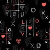Seamless hand drawn pattern with sketch crosses and toes and hearts. Vector illustrations in doodle style stock illustration