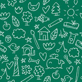 Seamless hand drawn pattern in sketchy style on the chalkboard Royalty Free Stock Photos
