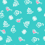 Seamless hand drawn pattern with snowflakes and bullfinches. New Year`s backgrou. Nd stock illustration