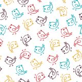 Seamless hand drawn pattern with sparrows. Vector colorful illustration. Stock Photography