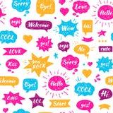 Seamless Hand drawn pattern. Speech bubbles Stock Photos