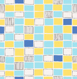 Seamless hand drawn pattern with squares Stock Image