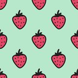 Seamless hand-drawn pattern with strawberry. Vector illustration. Doodle style Stock Photo