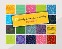 17 seamless hand-drawn pattern swatches. Vector illustration of 17 seamless hand-drawn pattern swatches royalty free illustration