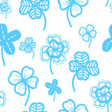 Seamless hand drawn pattern vector floral background. Clover wallpaper for Saint Patrick`s Day. Royalty Free Stock Photos