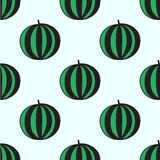Seamless hand-drawn pattern with watermelon. Vector illustration. Doodle style Royalty Free Stock Photo