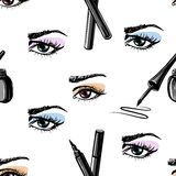 Seamless hand drawn pattern of woman eye and makeup elements Stock Photos
