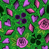 Seamless hand drawn patterns with card suits. Seamless Playing Cards Suits Pattern Background stock illustration