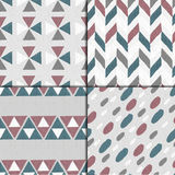 Seamless hand drawn patterns. Seamless hand drawn geometric pattern set. Four grunge backgrounds Royalty Free Stock Image