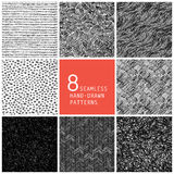8 seamless hand-drawn patterns. Illustration Royalty Free Stock Photo