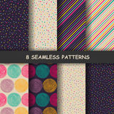 Seamless hand drawn patterns. Set of eight hand drawn graphic patterns. Seamless doodle texture. Made in vector Stock Images
