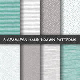 Seamless hand drawn patterns. Set of eight hand drawn graphic patterns. Seamless doodle texture. Made in vector Stock Image