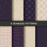 Seamless hand drawn patterns. Set of eight hand drawn graphic patterns. Seamless doodle texture. Made in vector Royalty Free Stock Photography