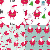 Seamless hand-drawn patterns sets of Christmas. Printable templates.  Stock Image