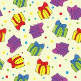 Seamless hand drawn present pattern Stock Photography