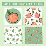 Seamless hand drawn red apple patterns set Stock Image