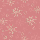 Seamless hand drawn snowflakes background. Stock Images