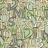 Seamless hand drawn style letters background - green tone Royalty Free Stock Photography