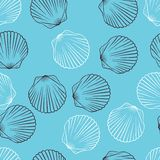 Seamless Hand Drawn Texture Of Shells. Vector Royalty Free Stock Photo