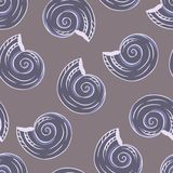 Seamless Hand Drawn Texture Of Shells. Vector Stock Photo