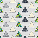 Seamless hand-drawn triangles pattern. Stock Photo