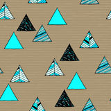 Seamless hand-drawn triangles pattern. Royalty Free Stock Photo
