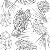 Seamless hand drawn tropical pattern with palm leaves, jungle exotic leaf on white background. Fashion textile print, summer floral wallpaper. Vector Royalty Free Stock Photos