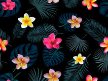 Seamless hand drawn tropical vector pattern with orchid flowers. And exotic palm leaves on dark background Stock Image