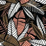 Seamless  hand drawn tropical wallpaper with leaves. Colorful tropical pattern with exotic plants. Seamless  hand drawn tropical wallpaper with leaves Stock Photos
