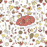 Seamless hand-drawn valentine seamless for design sites, cards and wrappingΠRoyalty Free Stock Photo