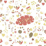 Seamless hand-drawn valentine seamless for design sites, cards and wrappingΠRoyalty Free Stock Photography