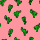 Seamless hand drawn vector pattern with cactus saguaro. For textile, ceramics, fabric, print, cards, wrapping Royalty Free Stock Photos
