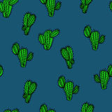 Seamless hand drawn vector pattern with cactus saguaro. For textile, ceramics, fabric, print, cards, wrapping Stock Images