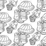 Seamless hand drawn vector pattern. Cakes and cupcakes on a white background Royalty Free Stock Image