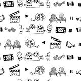 Seamless hand drawn vector pattern with cinema attributes. For textile, ceramics, fabric, print, cards, wrapping Stock Photo