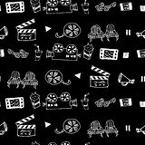 Seamless hand drawn vector pattern with cinema attributes. For textile, ceramics, fabric, print, cards, wrapping Royalty Free Stock Photography