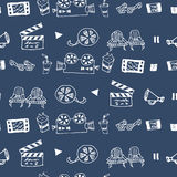 Seamless hand drawn vector pattern with cinema attributes. For textile, ceramics, fabric, print, cards, wrapping Stock Image