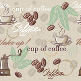 Seamless hand drawn vintage coffee pattern. Stock Image