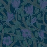 Seamless vintage floral dark blue and lilac pattern royalty free illustration