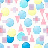 Seamless hand drawn watercolor pattern with pink,blue and violet different geometric shapes on a white background.Abstract stock illustration
