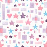 Seamless hand drawn watercolor pattern with pink,blue and violet different geometric shapes on a white background.Abstract royalty free illustration