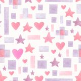 Seamless hand drawn watercolor pattern with pink and violet different geometric shapes on a white background.Abstract geometric stock illustration